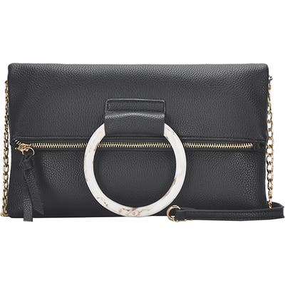 Antik Kraft Ring Convertible Faux Leather Clutch - Black
