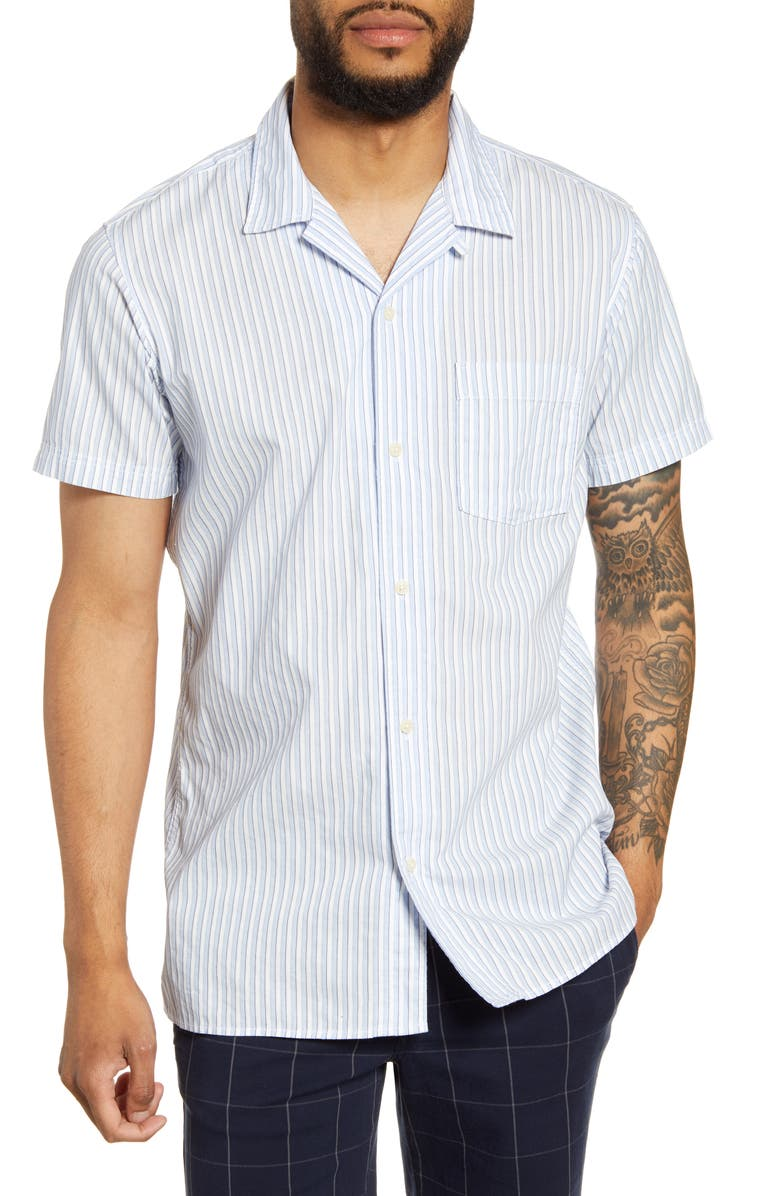SELECTED HOMME Stein Stripe Short Sleeve Button-Up Camp Shirt, Main, color, LIGHT BLUE