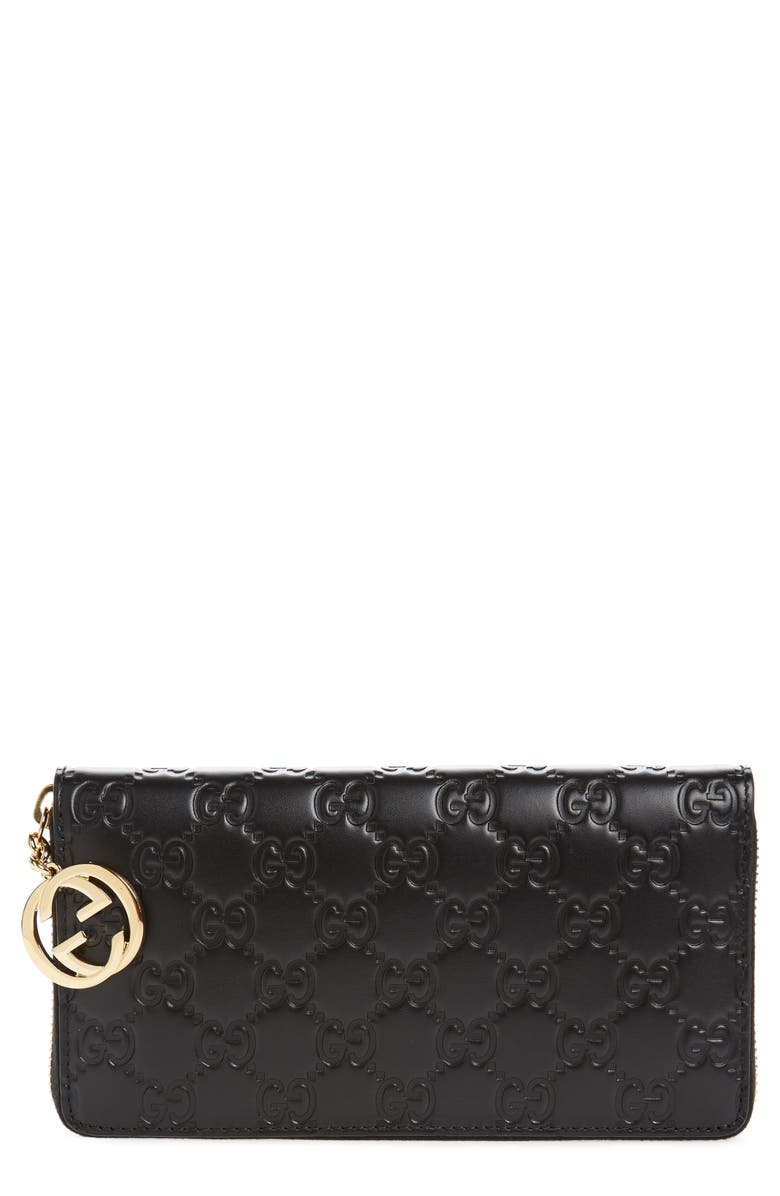 GUCCI Icon Leather Zip-Around Wallet, Main, color, 001