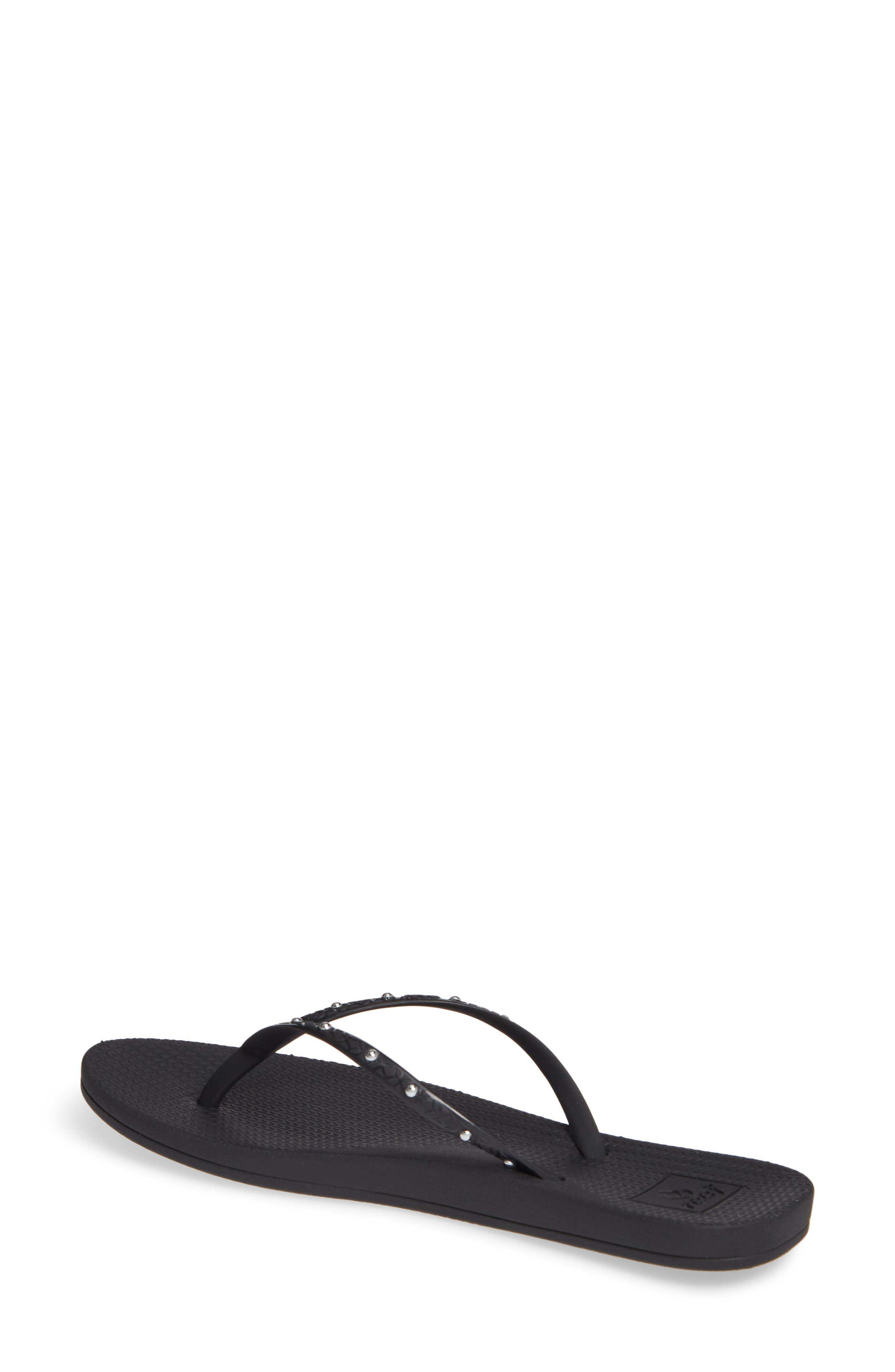 ,                             Escape Lux Studded Flip Flop,                             Alternate thumbnail 2, color,                             BLACK/ SILVER