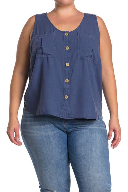 Image of 14TH PLACE Utility Button Front Sleeveless Top