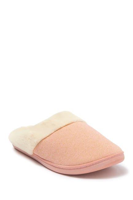 Image of Kensie Shimmer Knit Faux Fur Slipper