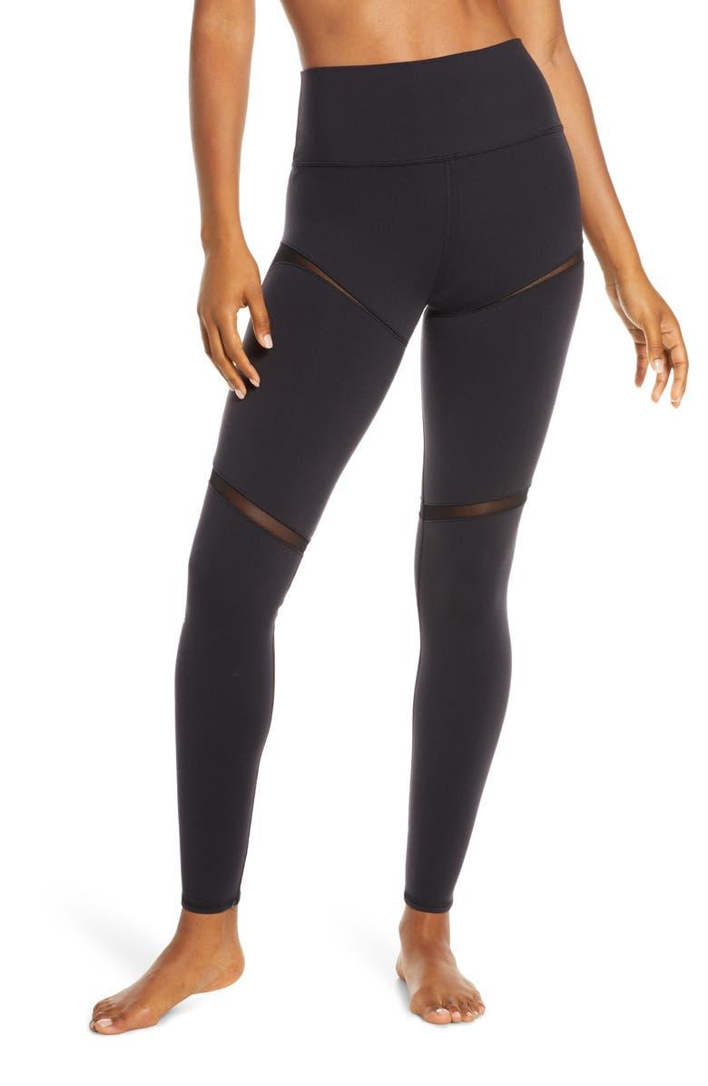 ALO Scoop Insets High Waist Leggings, Main, color, BLACK