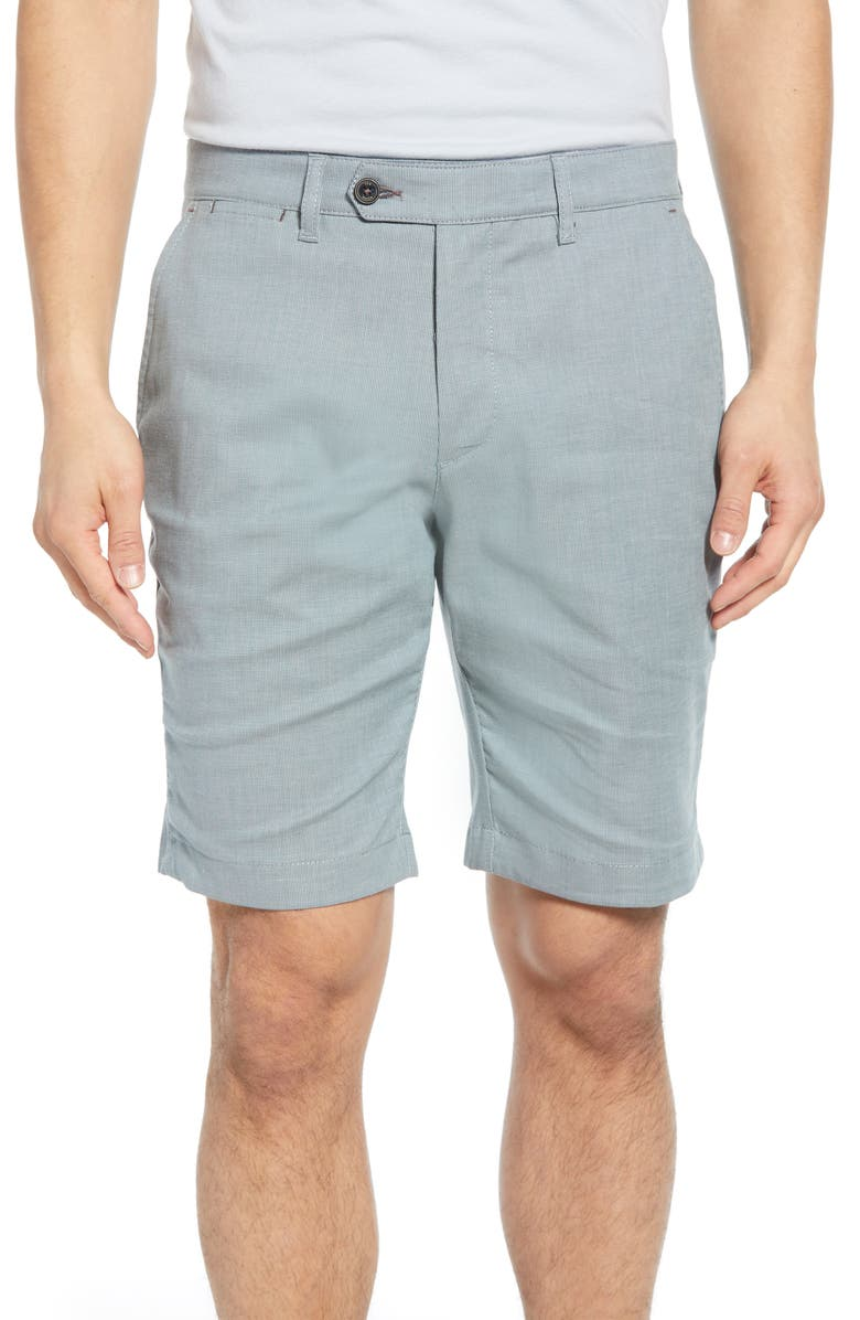 TED BAKER LONDON Beshor Slim Fit Stretch Cotton Shorts, Main, color, TEAL