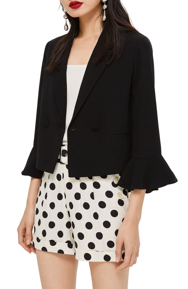 TOPSHOP Frill Sleeve Double Breasted Jacket, Main, color, 001