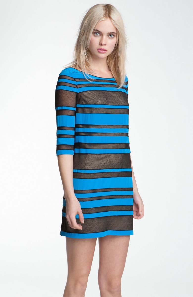 ROBERT RODRIGUEZ Sheer Stripe Shift Dress, Main, color, 400