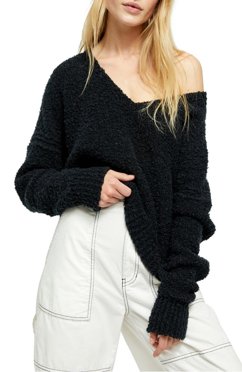 FREE PEOPLE Finder Keepers V-Neck Sweater, Main, color, BLACK
