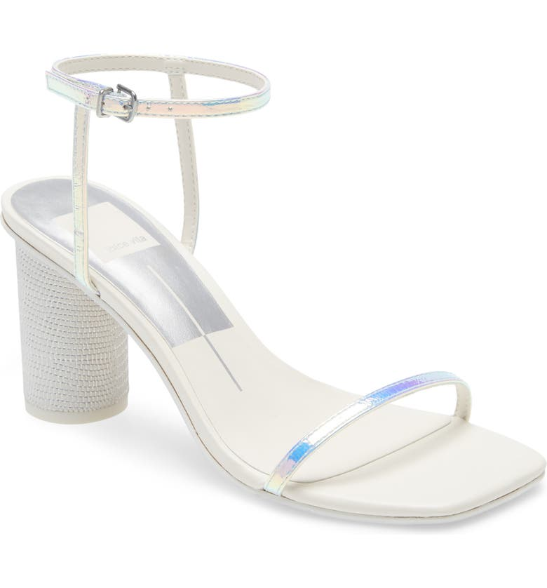 DOLCE VITA Naomey Strappy Statement Heel Sandal, Main, color, SILVER IRIDESCENT LEATHER