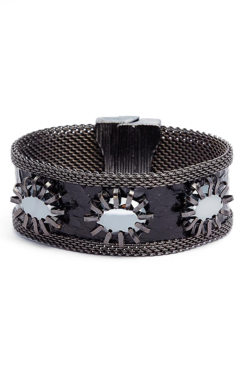 Cynthia Desser Faceted Hematite Snakeskin Bracelet