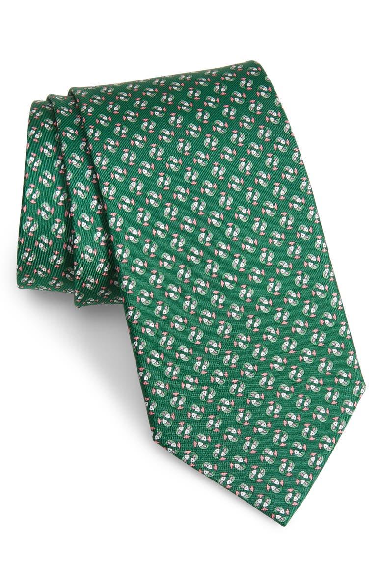 SALVATORE FERRAGAMO Ittico Fish Print Silk Tie, Main, color, F. VERDE