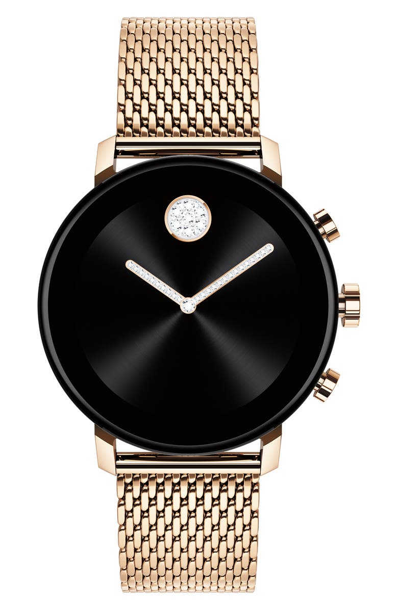 MOVADO Bold Connect 2.0 Glitz Mesh Band Smart Watch, 40mm, Main, color, CARNATION GOLD