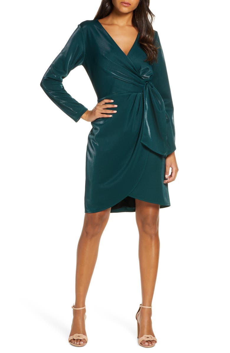 JULIA JORDAN Liquid Jersey Long Sleeve Faux Wrap Dress, Main, color, HUNTER