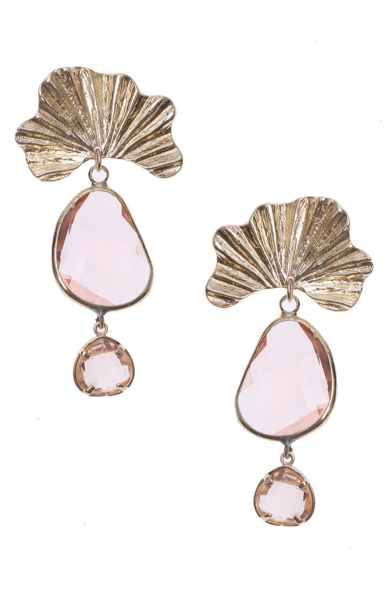 NAKAMOL CHICAGO Crystal Drop Earrings, Main, color, PINK GOLD