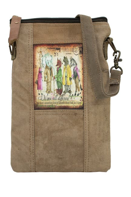 Image of Vintage Addiction We Are All Different Recycled Tent Crossbody Bag