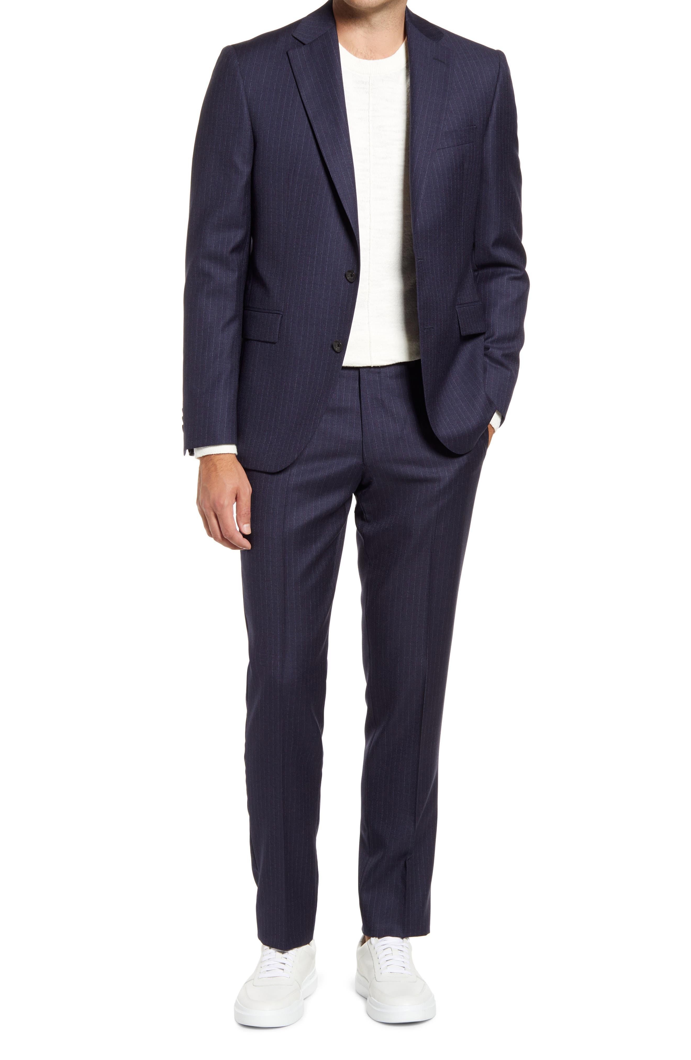 Esprit Contemporary Fit Navy Pinstripe Wool Suit