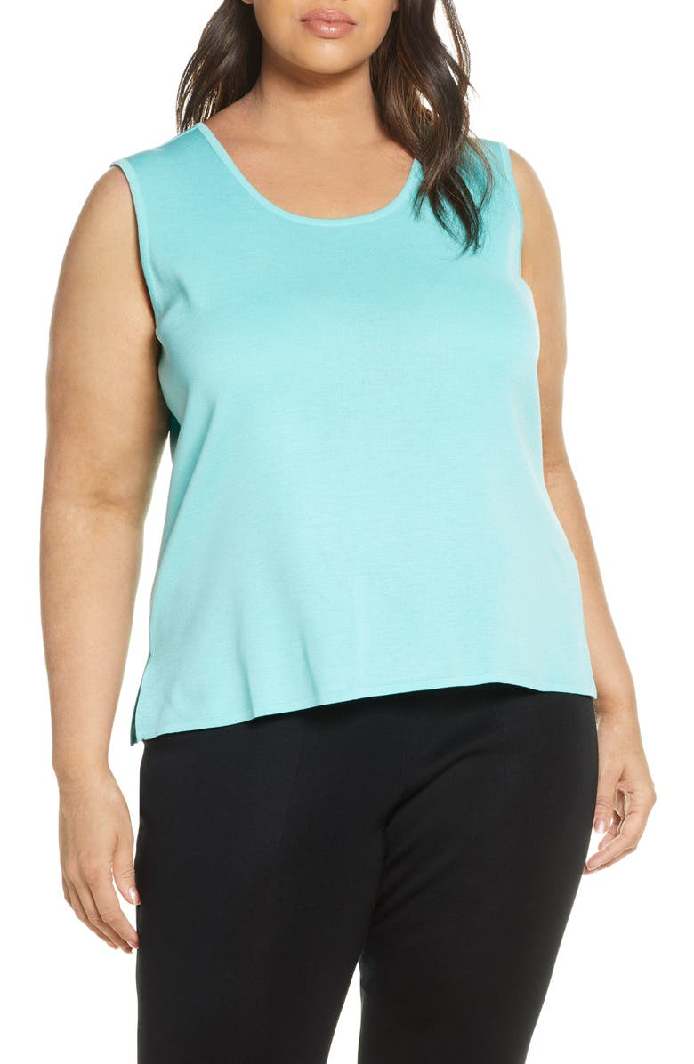 MING WANG Scoop Neck Knit Tank, Main, color, 400