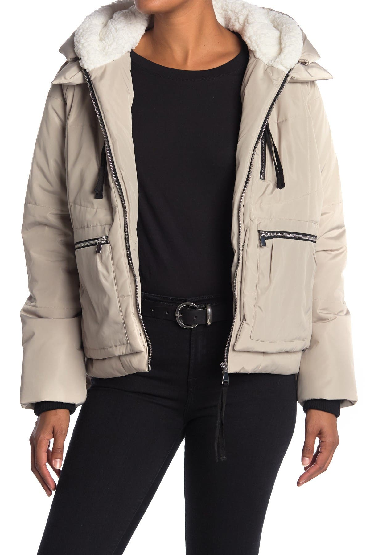 Image of Bagatelle Short Utility Puffer Faux Shearling Trim Jacket