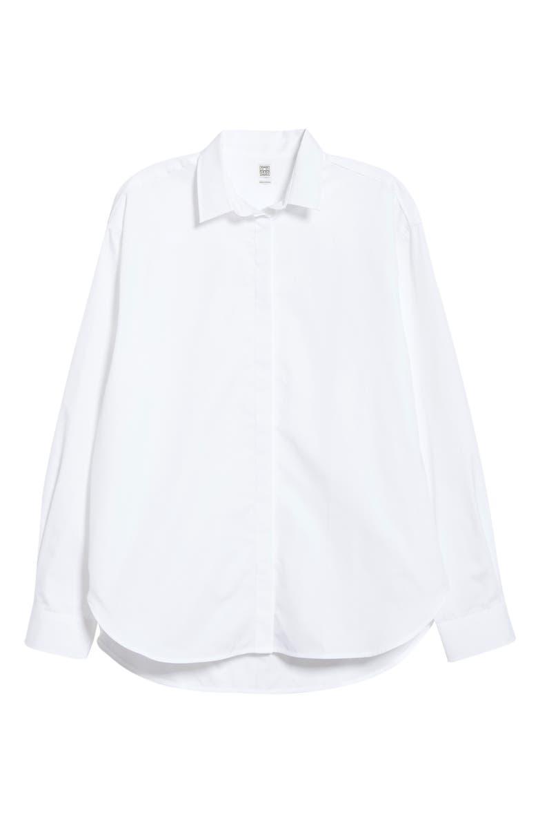 TOTÊME Lago Oversize Cotton Poplin Shirt, Main, color, 100