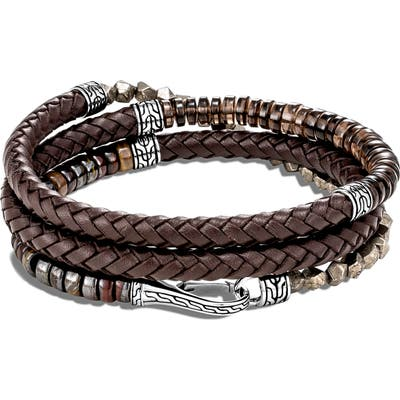 John Hardy Classic Chain Triple Wrap Leather Bracelet