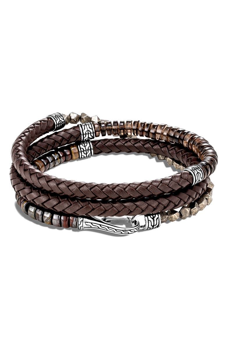 JOHN HARDY Men's Classic Chain Triple Wrap Leather Bracelet, Main, color, LEATHER/ BEAD