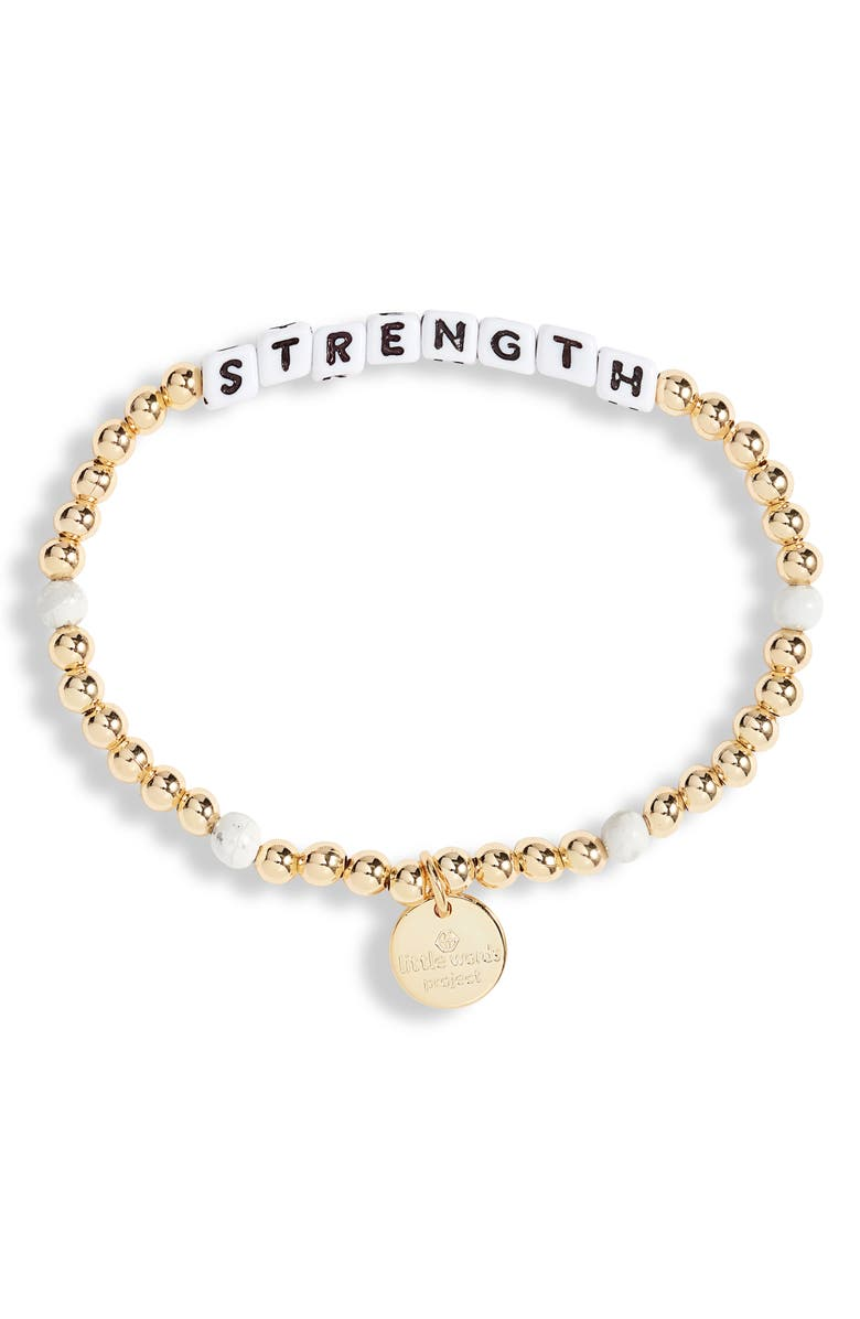 LITTLE WORDS PROJECT Strength Beaded Stretch Bracelet, Main, color, 710