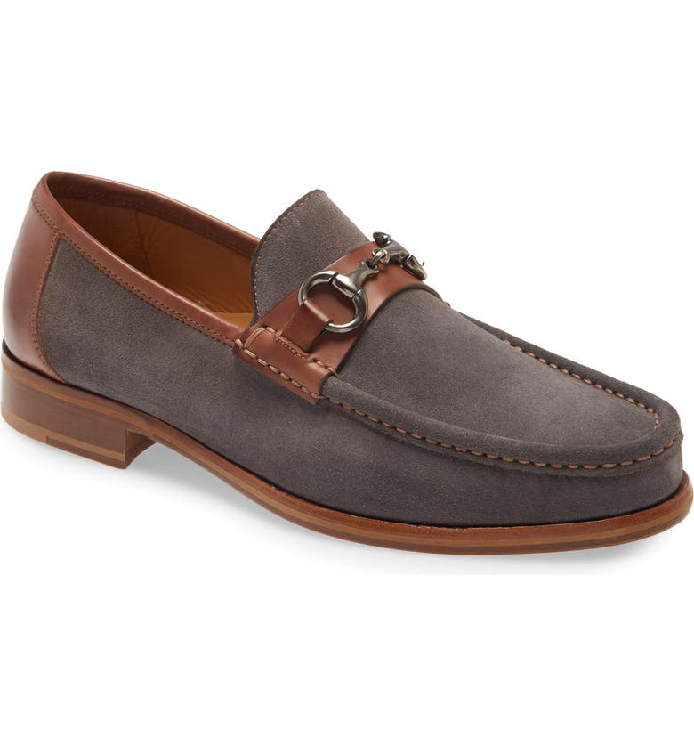 JOHNSTON & MURPHY Neilson Bit Loafer, Main, color, GRAY