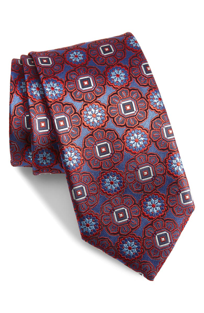 CANALI Medallion Silk Tie, Main, color, BLUE