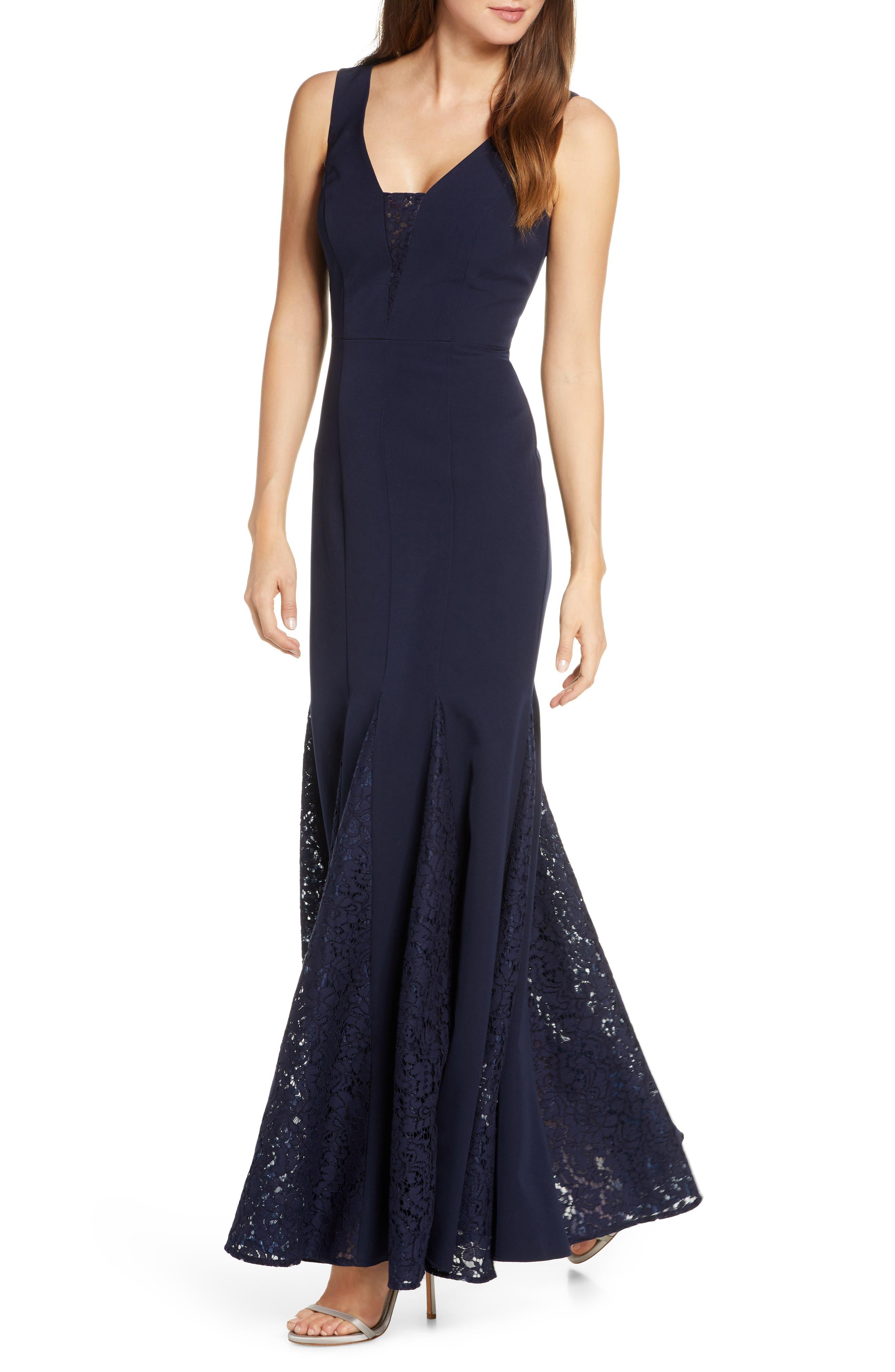 1930s Evening Dresses | Old Hollywood Dress Womens Eliza J Lace Inset Laguna Crepe Trumpet Gown $208.00 AT vintagedancer.com