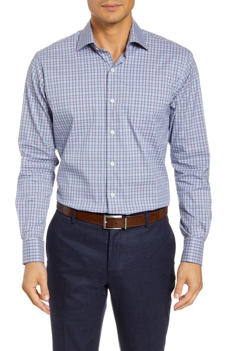 PETER MILLAR Crown Comfort Madison Regular Fit Check Button-Up Shirt, Main, color, COTTAGE BLUE