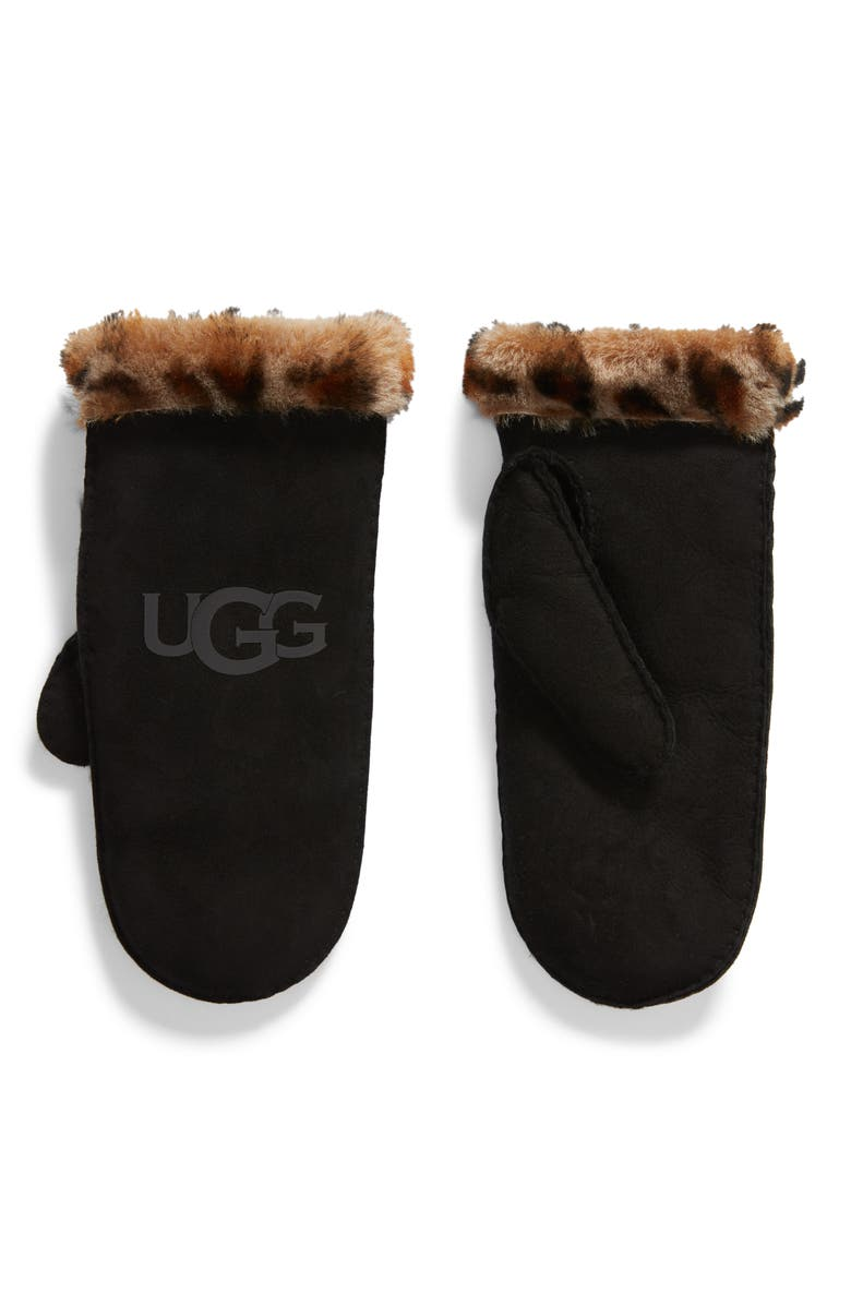 UGG<SUP>®</SUP> Genuine Shearling Trim Leather Mittens, Main, color, 001