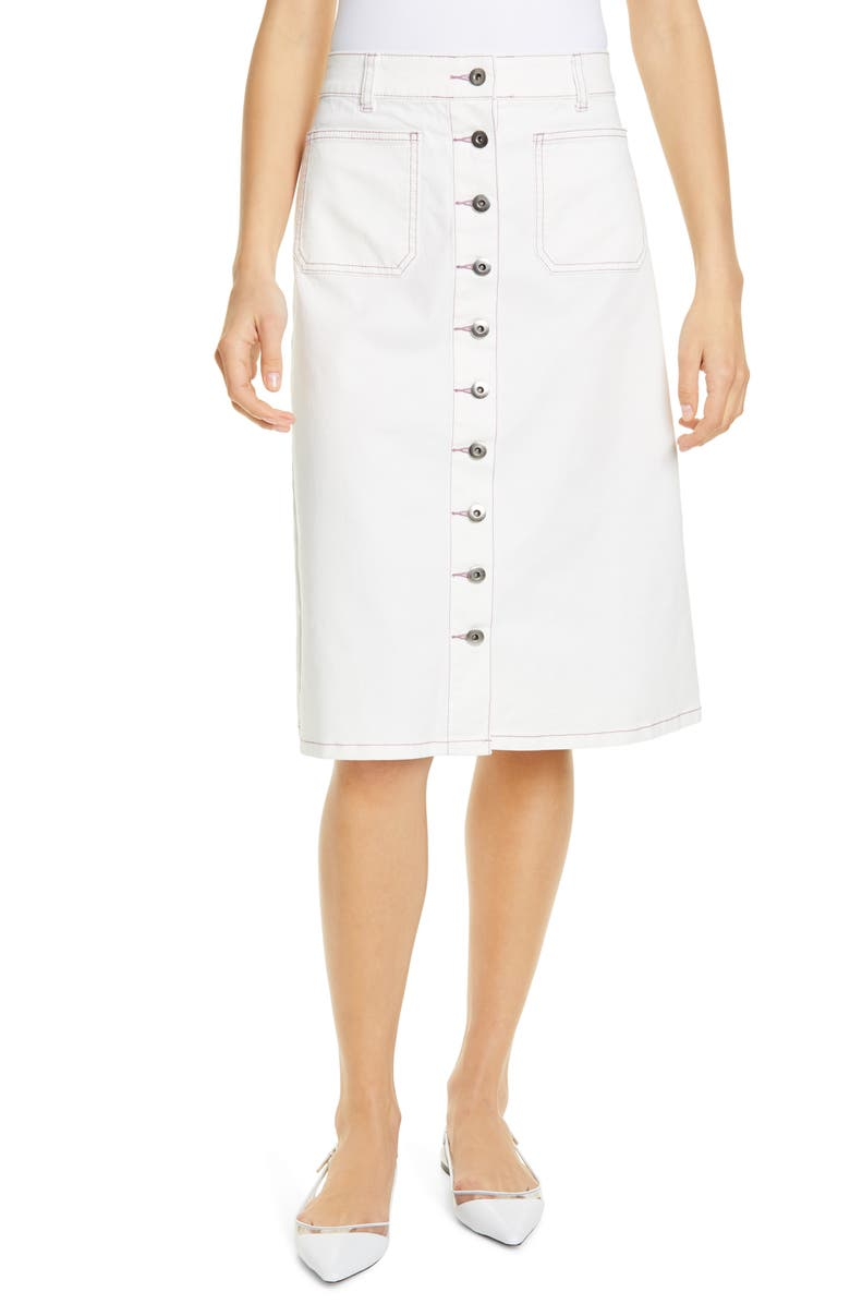 KATE SPADE NEW YORK button front denim skirt, Main, color, FRESH WHITE