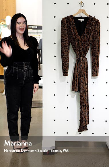 Riverside Pleated Long Sleeve Faux Wrap Minidress, sales video thumbnail
