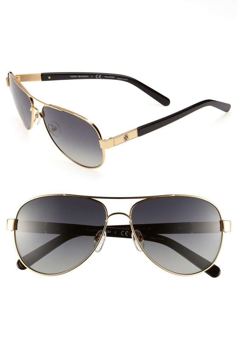 TORY BURCH 'Small' 57mm Polarized Metal Aviator Sunglasses, Main, color, 710