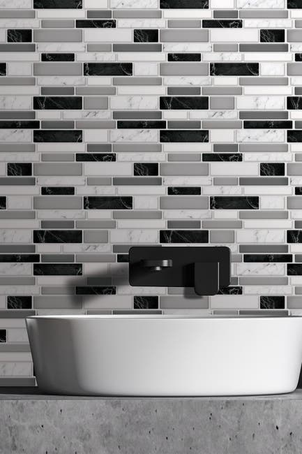 Image of WalPlus Light and Dark Marble Glossy 3D Metro Sticker Tiles Premium Wall Splashbacks Mosaics