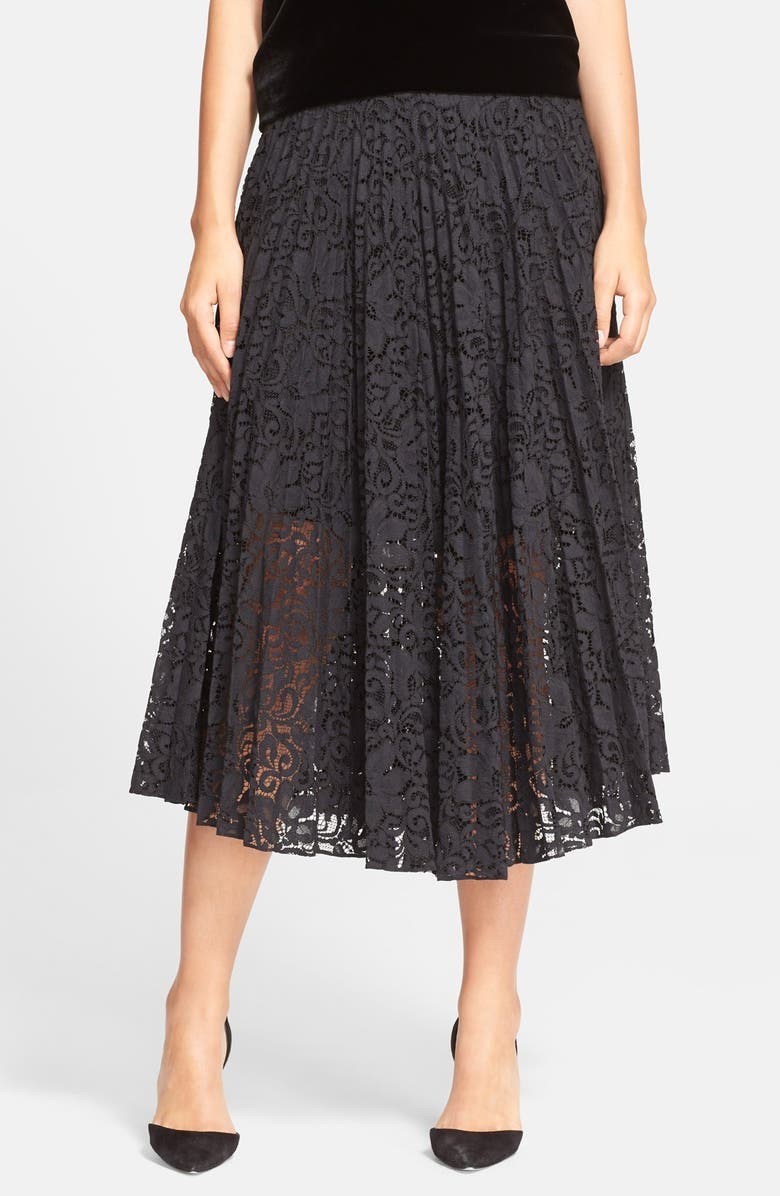 THEORY 'Zeyn' Pleated Lace Midi Skirt, Main, color, 001