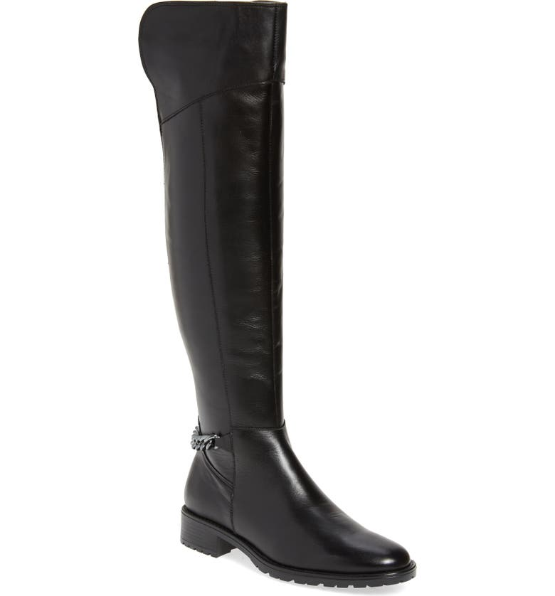 KURT GEIGER LONDON Vito Over the Knee Boot, Main, color, BLACK LEATHER
