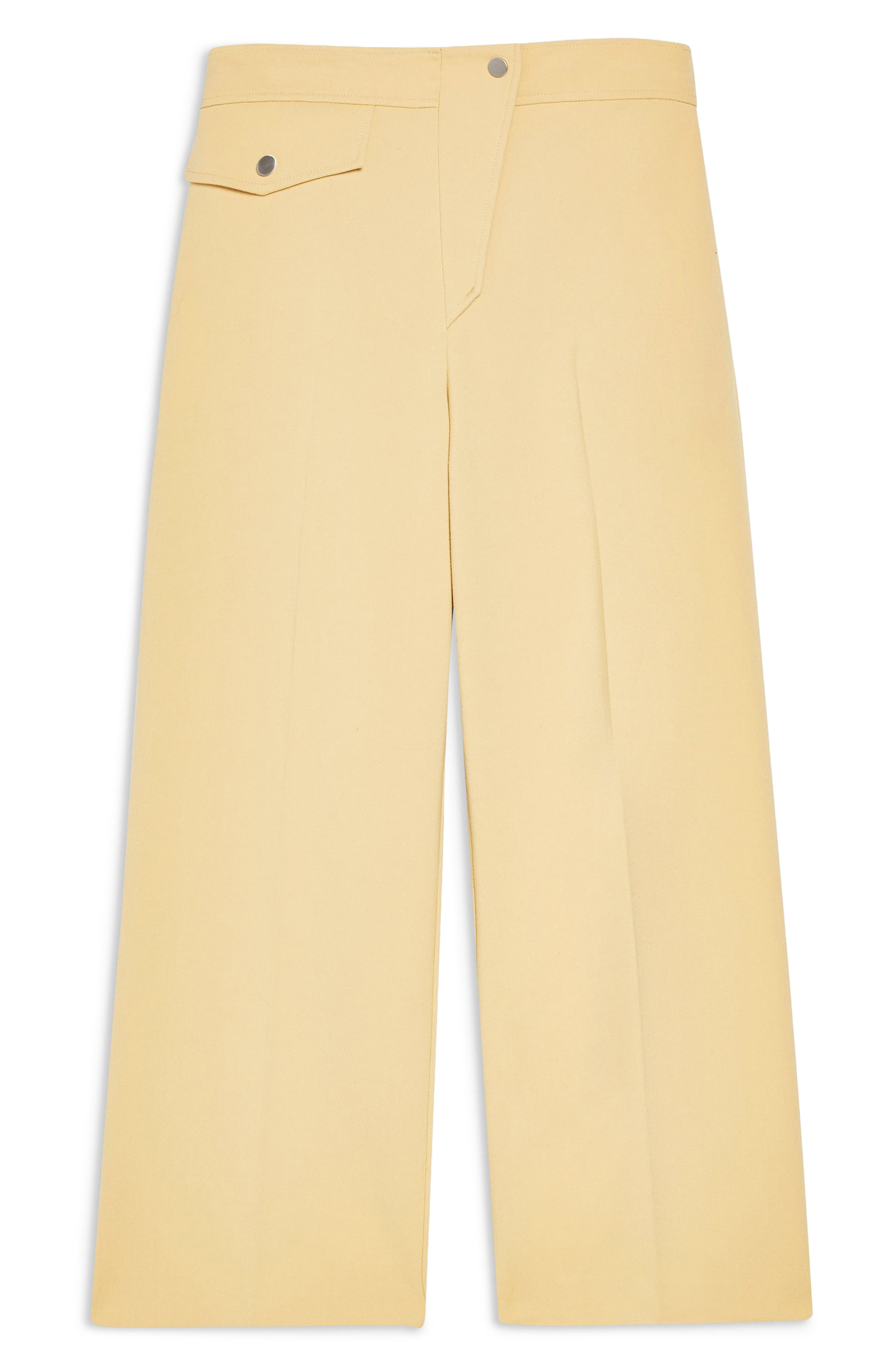 ,                             Bonded Wide Leg Cropped Trousers,                             Alternate thumbnail 5, color,                             LIGHT YELLOW