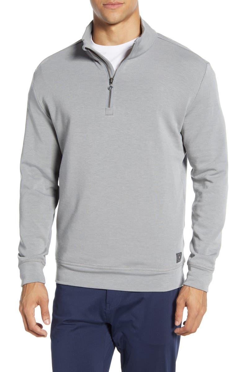 LINKSOUL Polartec<sup>®</sup> Quarter Zip Pullover, Main, color, GREY HEATHER