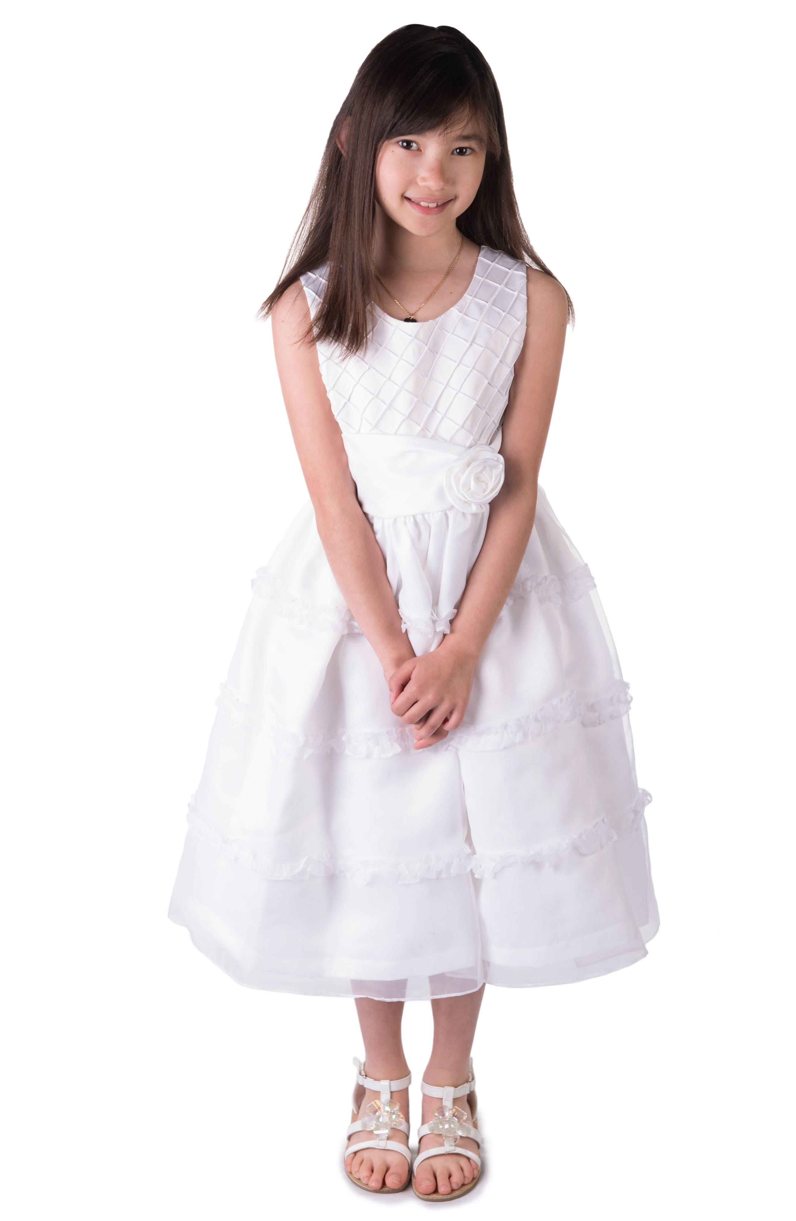 ,                             Diamond Pleated Satin & Organza Dress,                             Alternate thumbnail 2, color,                             WHITE