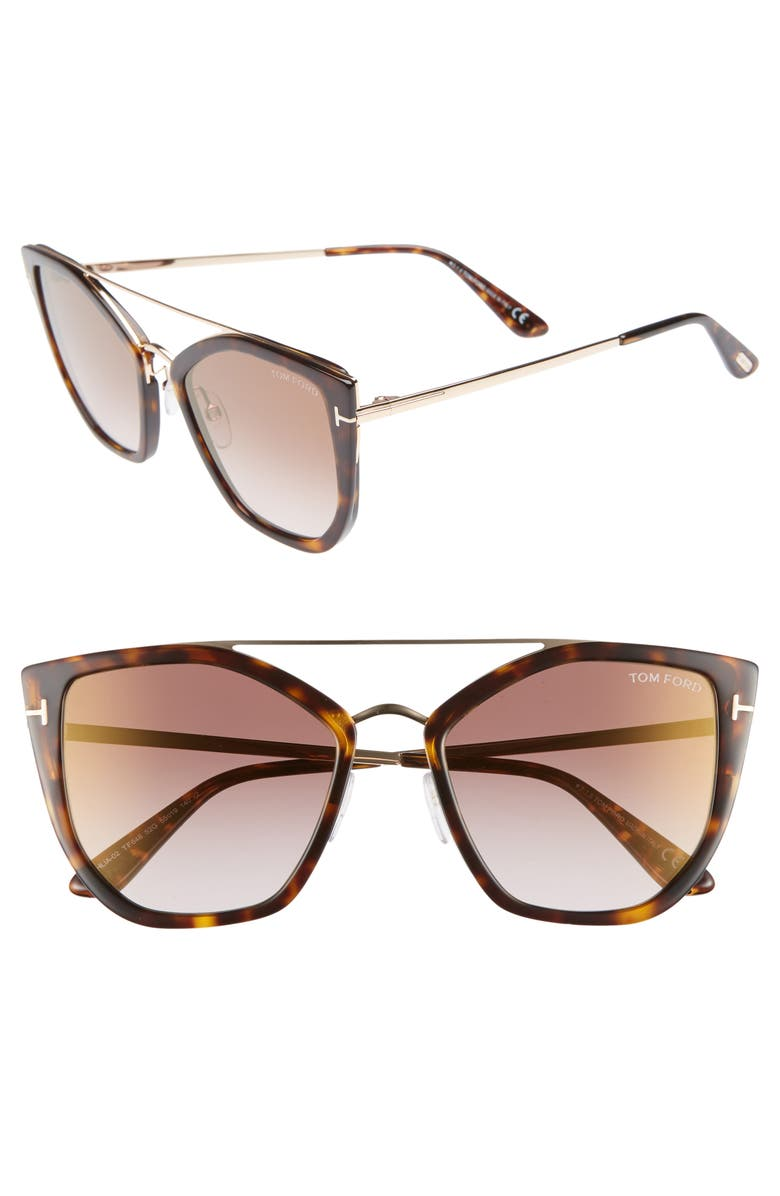 TOM FORD Dahlia 55mm Sunglasses, Main, color, BROWN