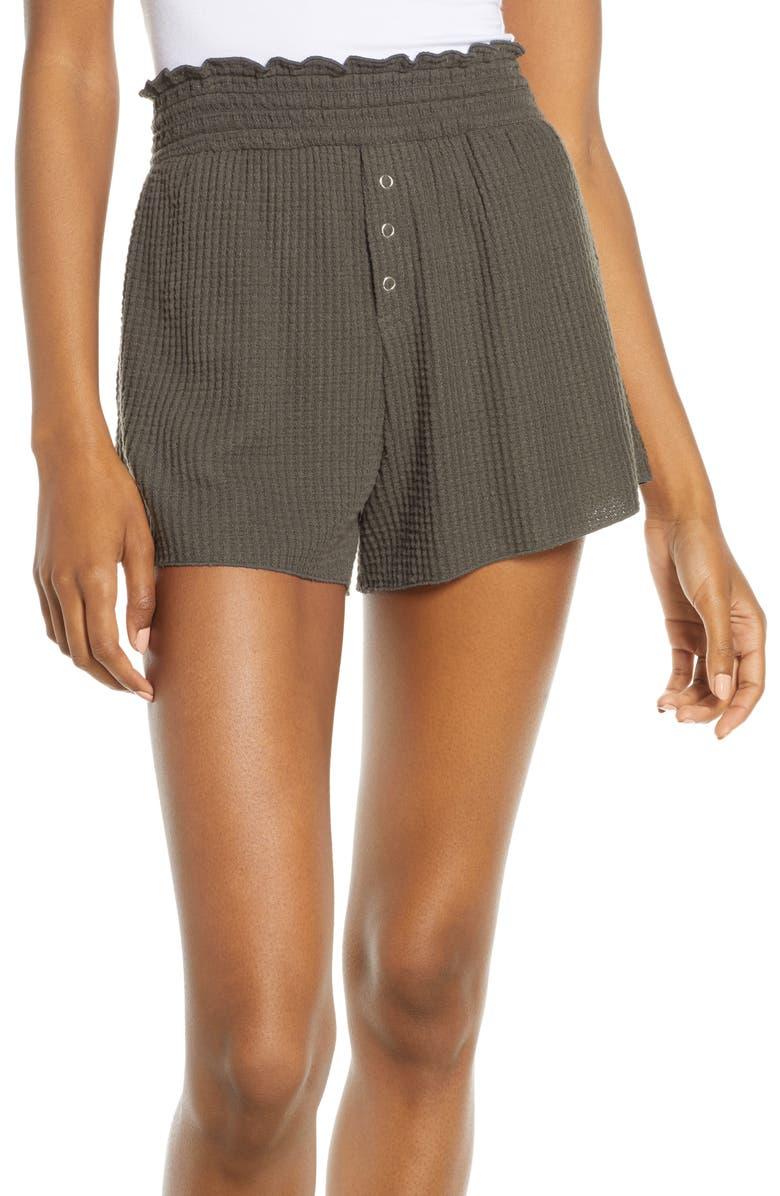 BP. Smocked Thermal Shorts, Main, color, GREY BELUGA