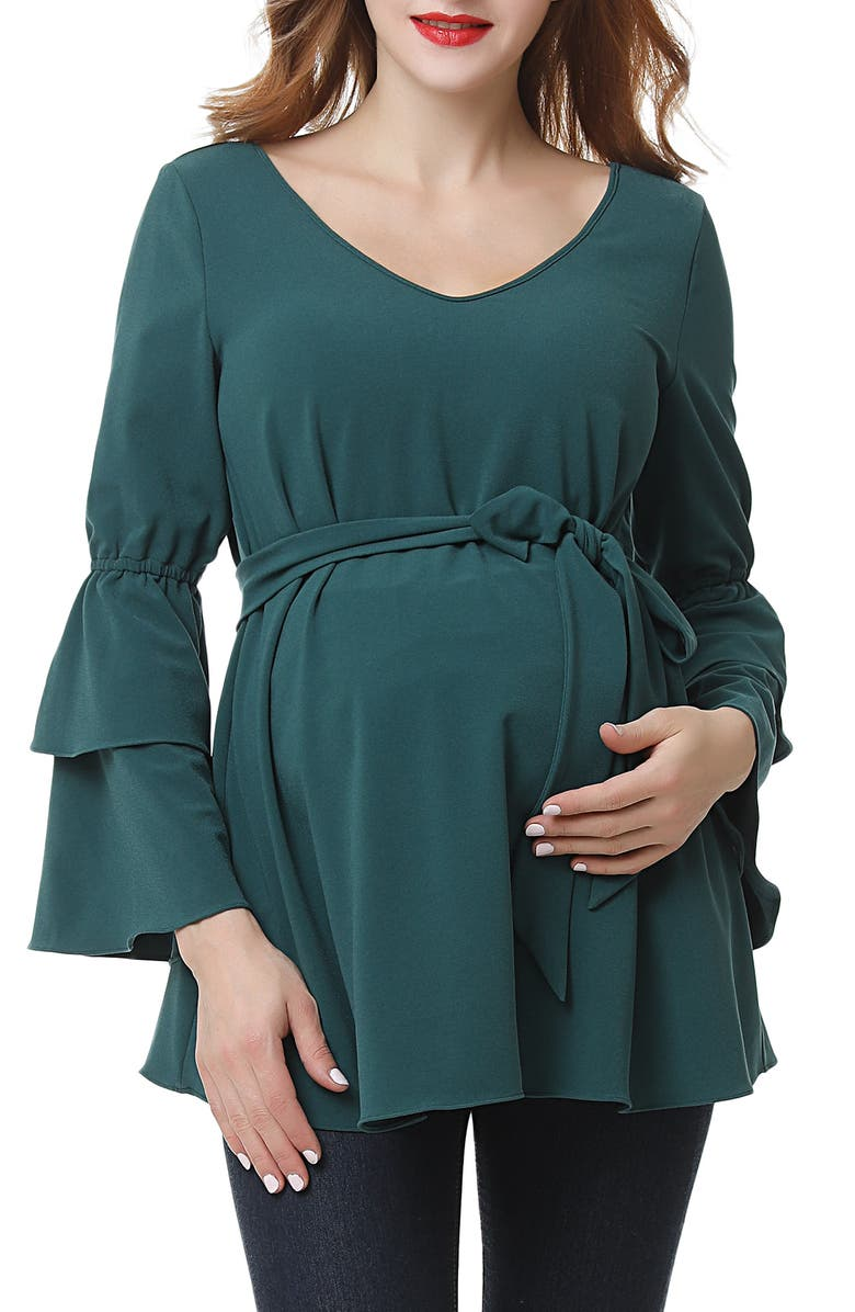 KIMI AND KAI Stevie Peasant Maternity Blouse, Main, color, FOREST GREEN