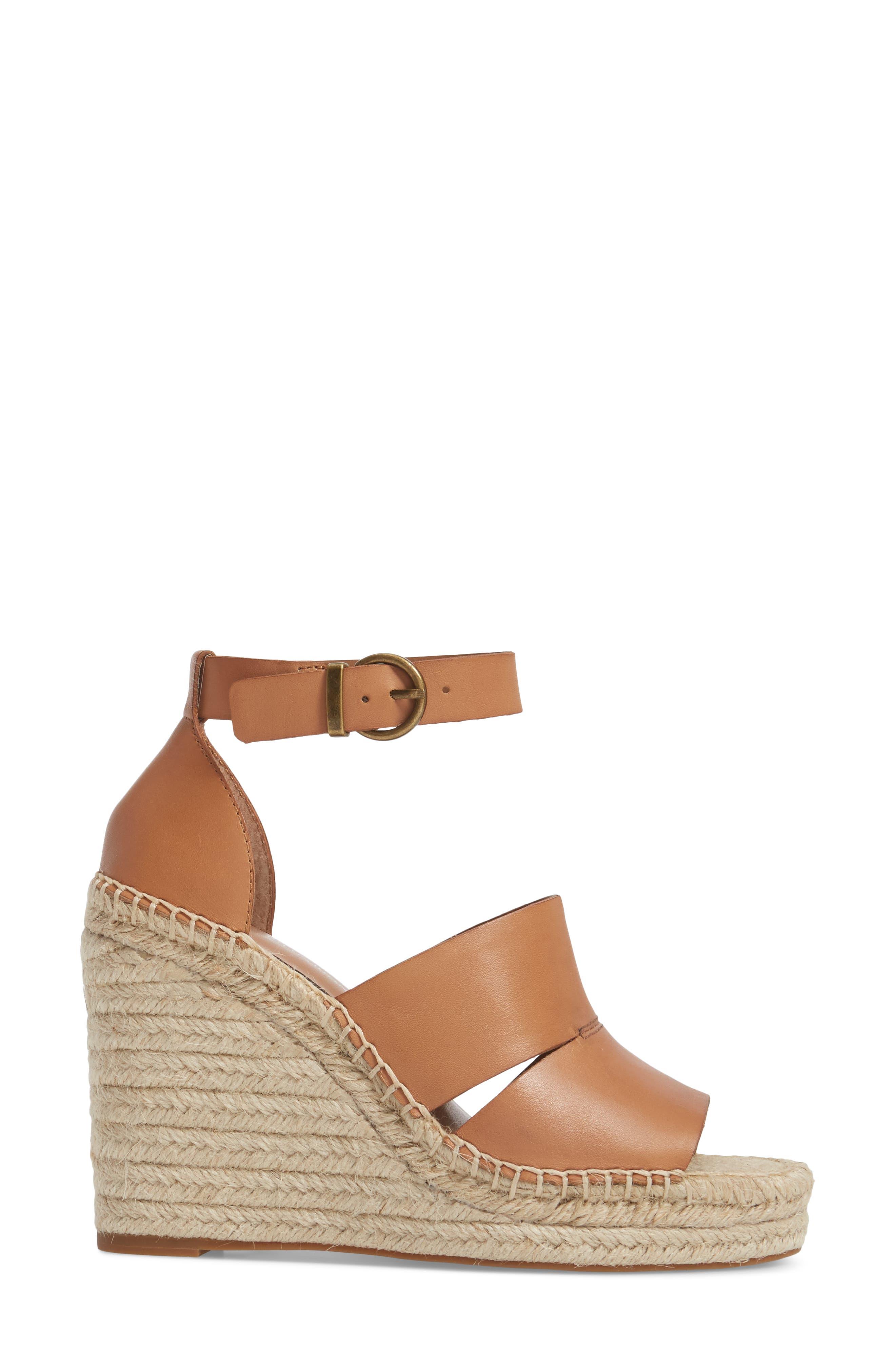 ,                             Sannibel Platform Wedge Sandal,                             Alternate thumbnail 3, color,                             TAN LEATHER
