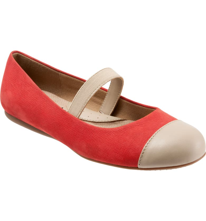 SOFTWALK<SUP>®</SUP> Napa Mary Jane Flat, Main, color, RED/ NUDE LEATHER