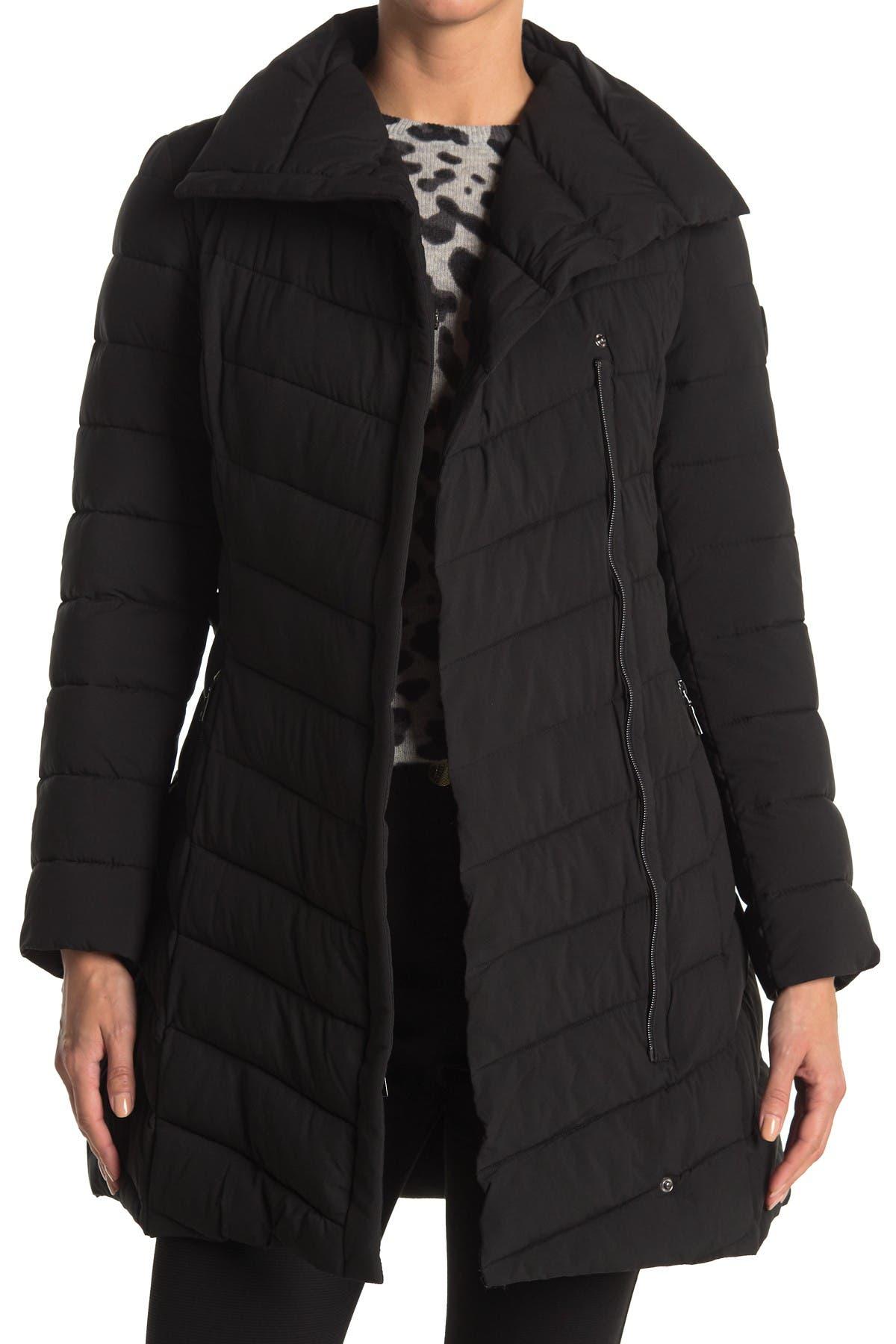 Image of Tahari Kim Asymmetrical Zip Puffer Jacket