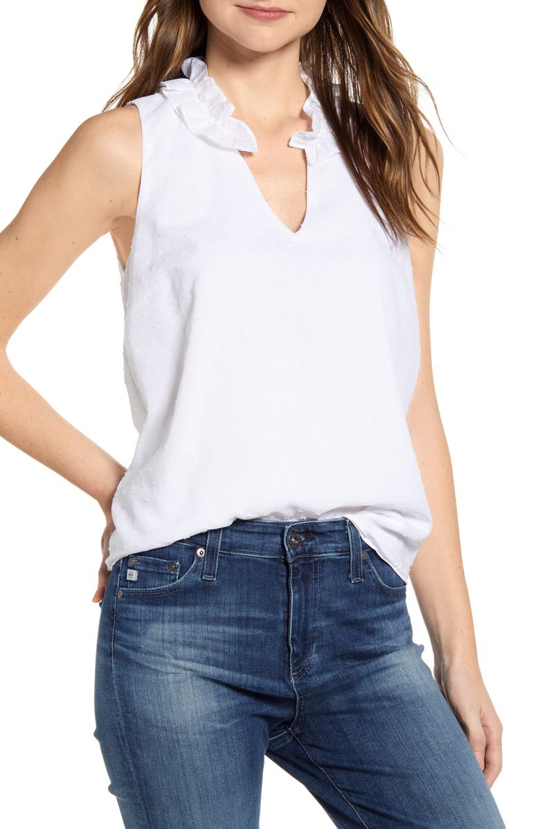 GIBSON x International Women's Day Loverly Grey Ruffled V-Neck Top, Main, color, 119