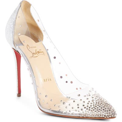 Christian Louboutin Degrastrass Clear Embellished Pump