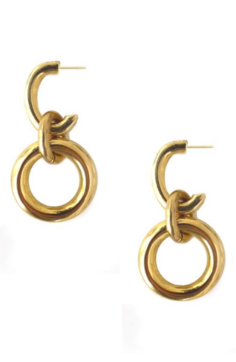 LAURA LOMBARDI Tira Earrings, Main, color, BRASS