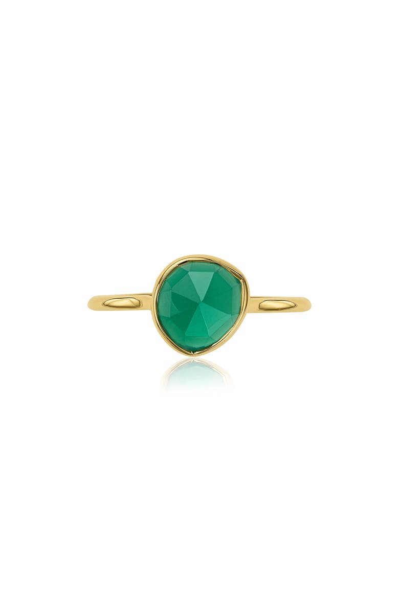 MONICA VINADER Siren Semiprecious Stone Stacking Ring, Main, color, GREEN ONYX/ YELLOW GOLD