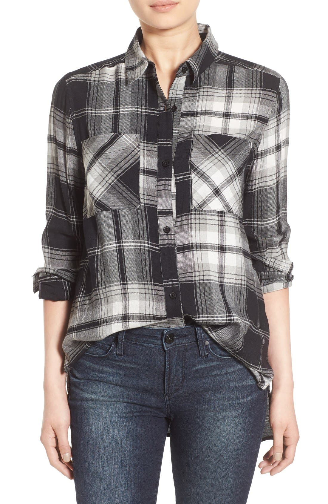 ,                             Plaid Tunic Shirt,                             Main thumbnail 2, color,                             001